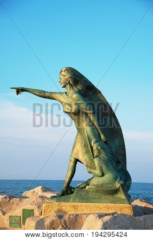 RIMINI ITALY - June 24 2017. Monument to women awaiting the return of their husbands from the sea in Rimini Italy