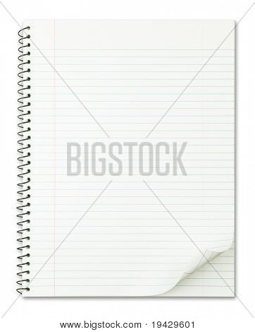 Notebook with nice page curl isolated on pure white.