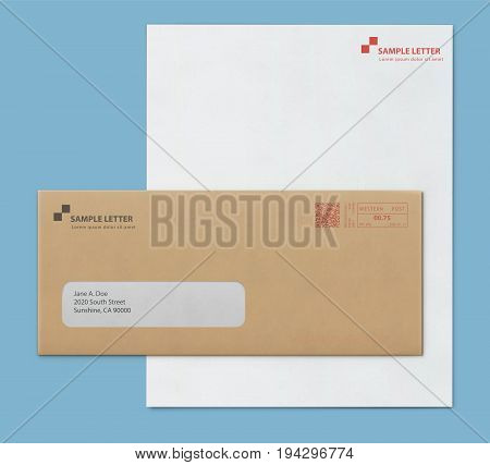 Vector illustration of closed brown envelope for letters and documents with transparent window and corporate letterhead blank paper isolated on blue background. Mockup post envelope and letter paper template