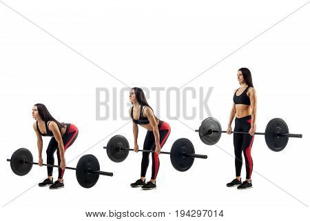 The technique of doing an exercise of deadlift with a barbell of a young sports girl on a white isolated background three positions