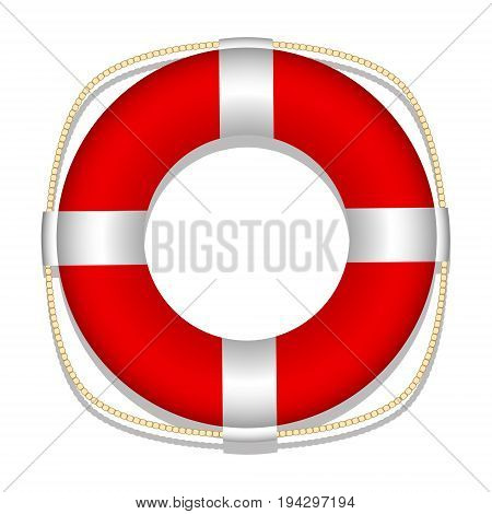 Lifebuoy. White background. Isolated object. Vector illustration