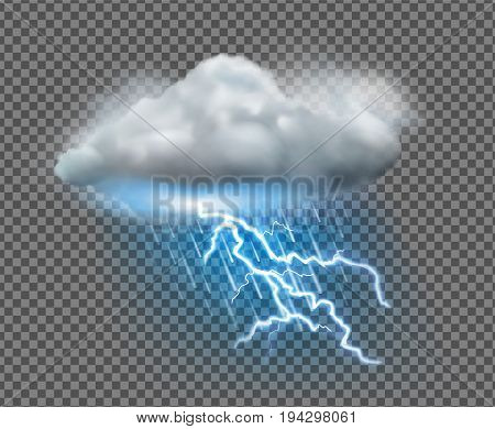 Vector illustration of cool single weather icon with cloud heavy fall rain and lightning on transparent background