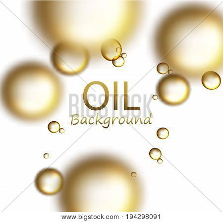 Realistic drops of 3d oil drop, in space. Blurred drops on the front, mesh. Molecule and scientific background.
