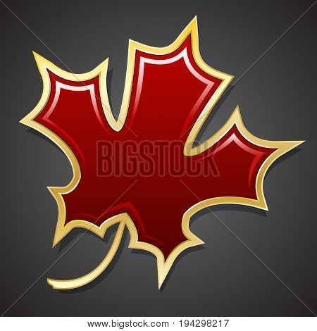 Red maple leaf in the golden cut. Isolated object. Vector illustration.