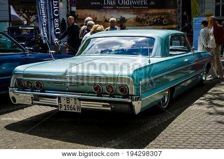 BERLIN - JUNE 17 2017: Full-size car Chevrolet Impala SS 1964. Rear view. Classic Days Berlin 2017.