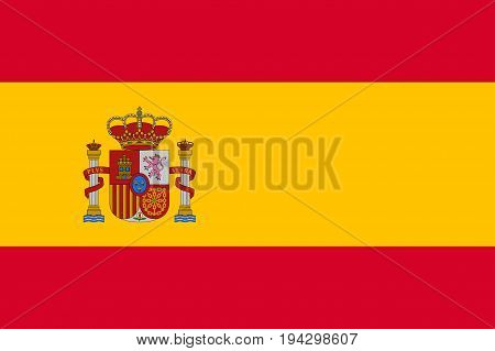 Flag of Spain country with Coat of Arms. Patriotic sign in official colors red and yellow. National symbol of Sounhern European state. Vector illustration