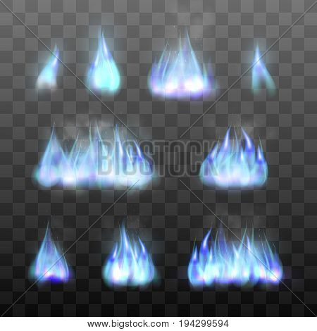 Set effects of blue fire. Realistic flame of gas. Mystic fiery effects. Collection of blazing bonfires graphic design element. Vector illustration of fire isolated on black transparent background