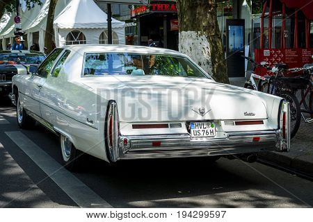 BERLIN - JUNE 17 2017: Full-size luxury car Cadillac Coupe de Ville (fourth generation) 1975. Rear view. Classic Days Berlin 2017.