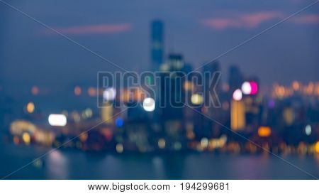Aerial view blurred bokeh Hong Kong city building light night view abstract background
