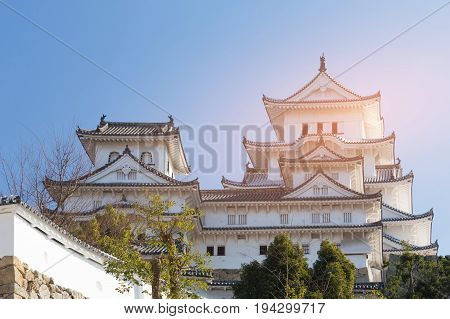 Clear blue sky background over Himeji castle Japan historical japanese landmark