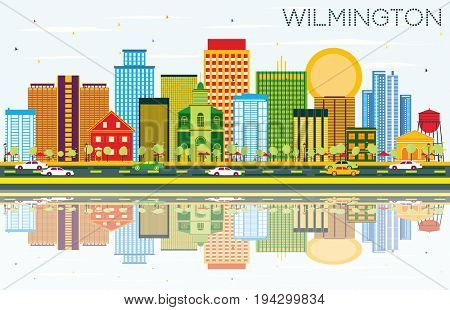 Wilmington Skyline with Color Buildings, Blue Sky and Reflections. Business Travel and Tourism Concept with Modern Buildings. Image for Presentation Banner Placard and Web Site.