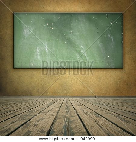 grungy room with blackboard, wooden floor and brown wall