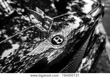 BERLIN - JUNE 17 2017: Bentley's hood ornament. Close-up. Black and white. Classic Days Berlin 2017.