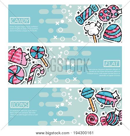 Sweets candies banner horizontal concept set. Flat illustration of 3 sweets candies vector banner horizontal concepts for web