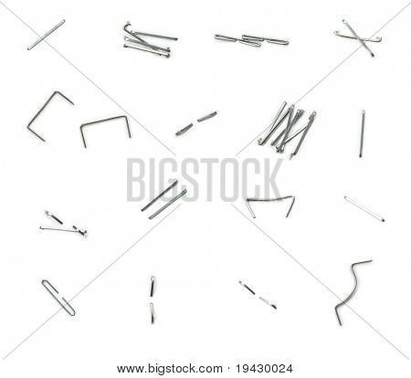 All existing forms of staple needle in use. Isolated on white.