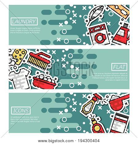 Laundry horizontal banners set with professional work symbols flat isolated vector illustration