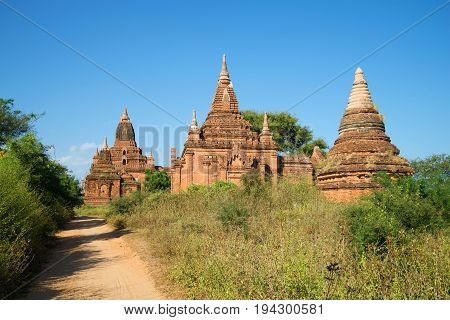 A sunny day at the ancient Buddhist pagodas of Bagan. Burma