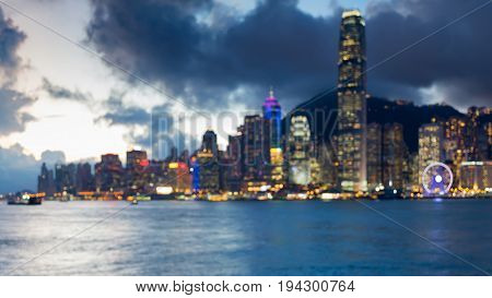 Twilight blurred bokeh Hong Kong central business light seafront abstract background
