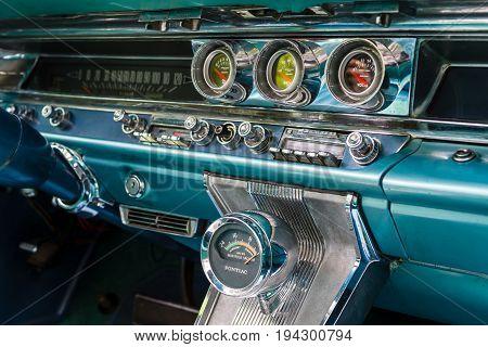 BERLIN - JUNE 17 2017: Fragment of the interior of a full-size car Pontiac Bonneville 1963. Classic Days Berlin 2017.