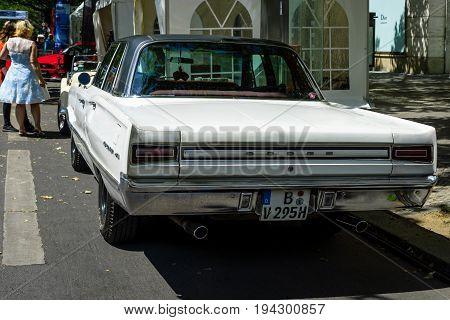 BERLIN - JUNE 17 2017: Mid-size car Dodge Coronet 1967. Rear view. Classic Days Berlin 2017.