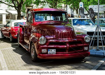 BERLIN - JUNE 17 2017: Pickup truck Chevrolet Advance Design 3100 1954. Classic Days Berlin 2017.