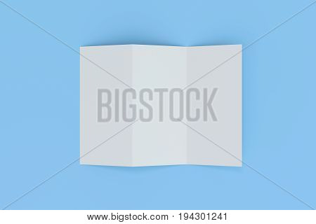 Blank White Three Fold Brochure Mockup On Blue Background