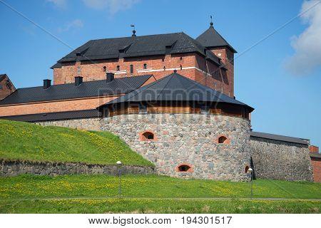 Hame Castle close-up on a sunny June day. Hameenlinna, Finland