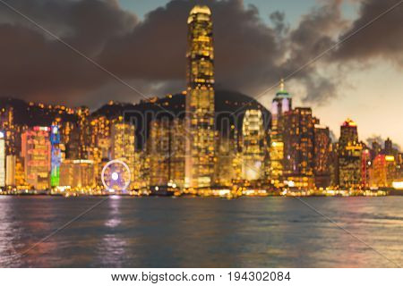 Office building central business downtown blurred bokeh light abstract background Hong Kong night view