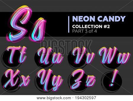 Vector Neon Character Typeset. Glowing Letters on Dark Background. Glitch Effect. Shining Candy Alphabet. Hand Drawn Retro Font for Summer Poster Night Club Banner Sale Banner.