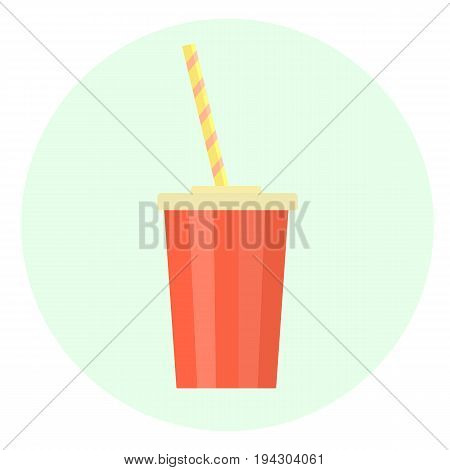 Flat Red Vector Plastic Cup With Straw For Beverages Icon