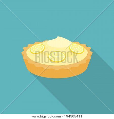 Pie lemon or cheese tart with lemon slice illustration, flat design with long shadow