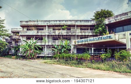 PHUKET, THAILAND - MARCH 31: Abandoned hotel after the 2004 tsunami disaster on March 31, 2017  Phuket, Thailand.