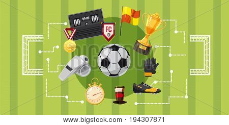 Soccer football horizontal concept. Cartoon illustration of soccer football banner horizontal vector for web