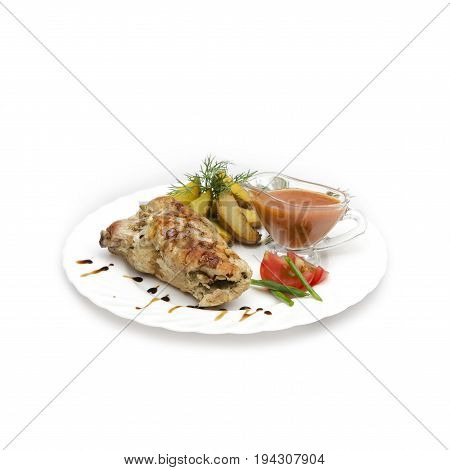juicy tender pork on a bone laid with a roll. The satiety of the dish will betray the frit potatoes, the sauce will betray a burning note