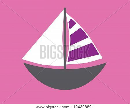Sailboat on Isolated Pink Background and Purple Sails