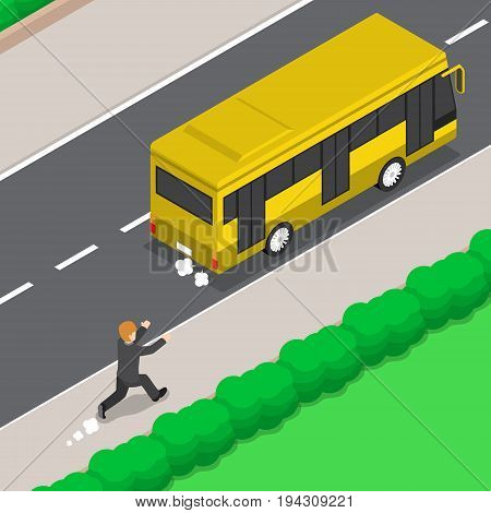 Flat 3d Isometric Businessman is Running Follow The Bus Late For Work Business Concept