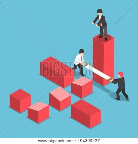 Flat 3d Isometric Businessman Trying to Destroy Business of His Rival Eliminate Business Rival and Competition Concept