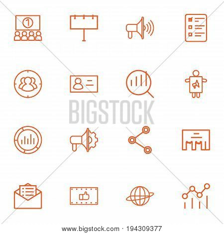 Set Of 16 Advertising Outline Icons Set.Collection Of Audience, Promotion, Advertising Agency And Other Elements.