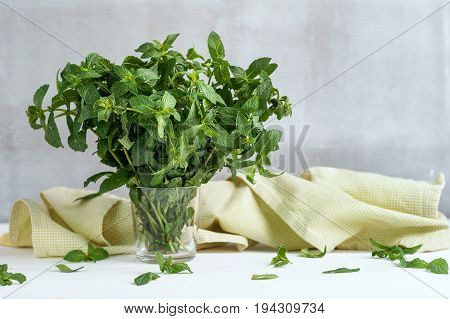 Bunch of fresh green organic mint leaf in glass on white wooden table closeup decorated with napkin on gray ascetic background. Nutrition vegan village concept. peppermint, menthol.