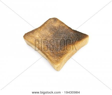 Burnt toast isolated on white