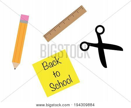 Happy Back to School Items Pencil Scissors