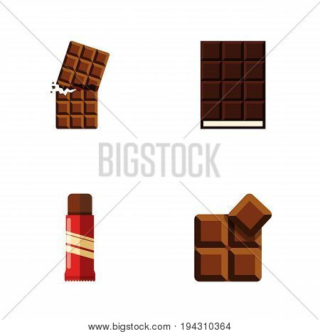 Flat Icon Bitter Set Of Cocoa, Sweet, Dessert And Other Vector Objects. Also Includes Sweet, Confection, Wrapper Elements.