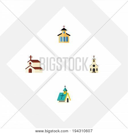 Flat Icon Building Set Of Building, Architecture, Catholic And Other Vector Objects. Also Includes Religion, Traditional, Church Elements.