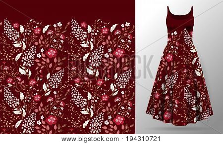 Flower embroidery on dress mock up. Cute little flowers seamless border textile print vintage art. Fashion decoration patch realistic 3d vector illustration woman clothes. Pink on vinous
