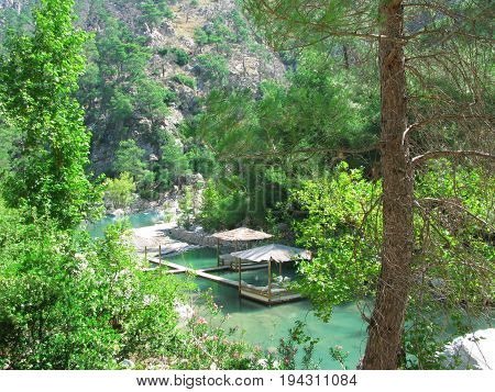 bower near blue lagoons in national park turkey
