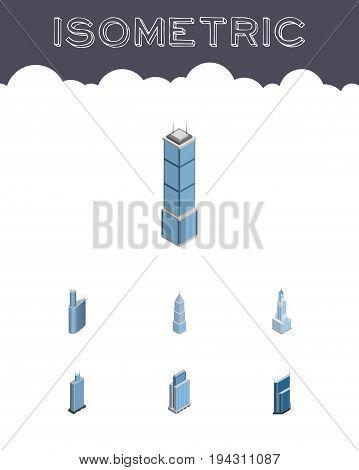 Isometric Building Set Of Exterior, Apartment, Cityscape And Other Vector Objects. Also Includes Cityscape, Exterior, Skyscraper Elements.