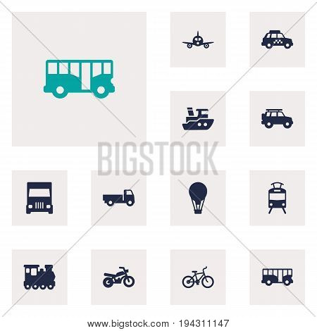 Set Of 12 Transport Icons Set.Collection Of Boat, Hatchback, Streetcar And Other Elements.