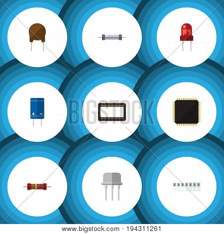 Flat Icon Technology Set Of Triode, Memory, Mainframe And Other Vector Objects. Also Includes Recipient, Motherboard, Processor Elements.