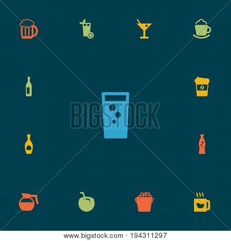 Set Of 13 Beverages Icons Set.Collection Of Fridge, Wine, Soda And Other Elements.