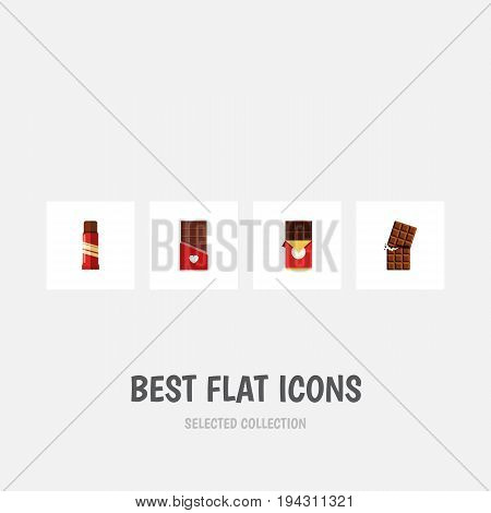 Flat Icon Chocolate Set Of Chocolate, Wrapper, Chocolate Bar And Other Vector Objects. Also Includes Wrapper, Confection, Box Elements.